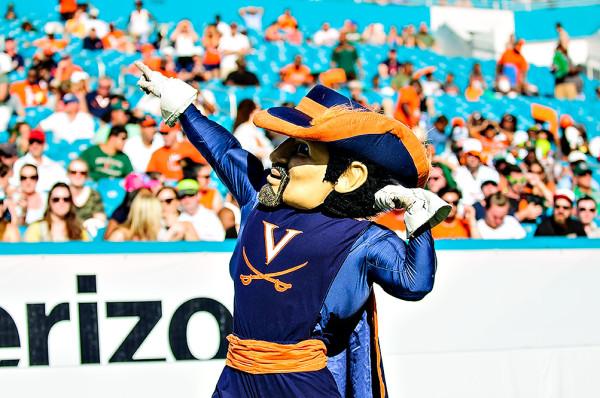 The Virginia Cavaliers mascot