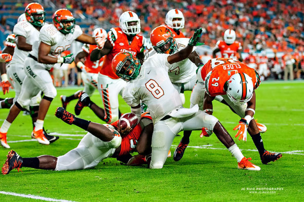 FAMU QB, Kenneth Coleman, gets tackled awkwardly