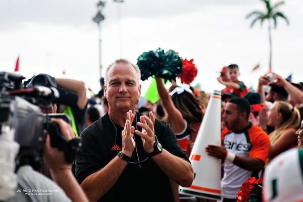 Head Coach Mark Richt greets fans at the Canes Walk