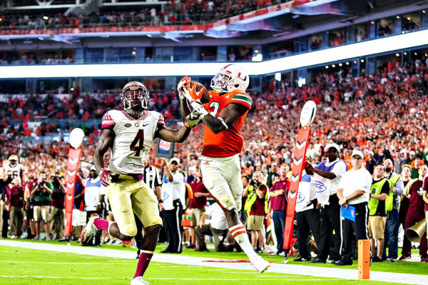 Hurricanes WR, Stacy Coley, catches a touchdown pass from Brad Kaaya