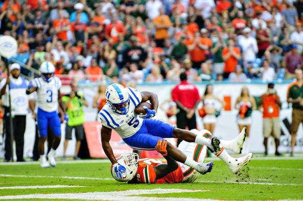 Duke WR, Johnathan Lloyd, scores a touchdown