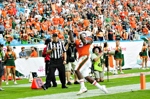 Hurricanes WR, Stacy Coley, hauls in a pass just out of bounds