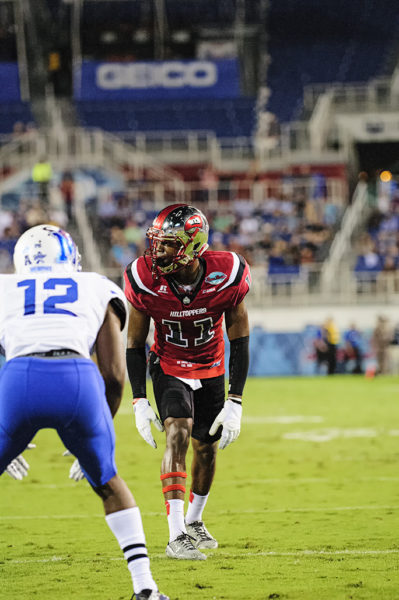 Lucky Jackson, Western Kentucky WR, lines up ready for the snap