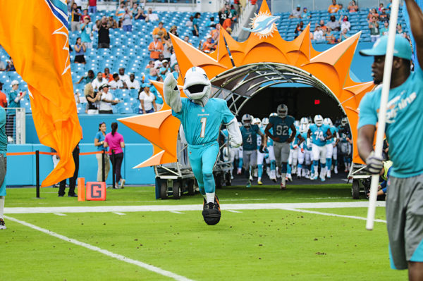 TD leads the Miami Dolphins onto the field