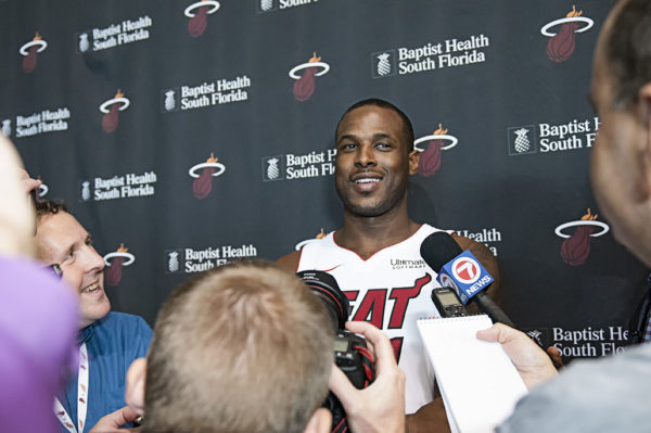 Dion Waiters is surrounded by media on Miami Heat Media day