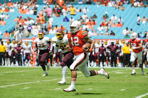 Malik Rosier rushes against the Bethune-Cookman defense