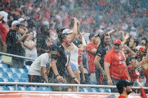 The fans didn't seem to mind the rain