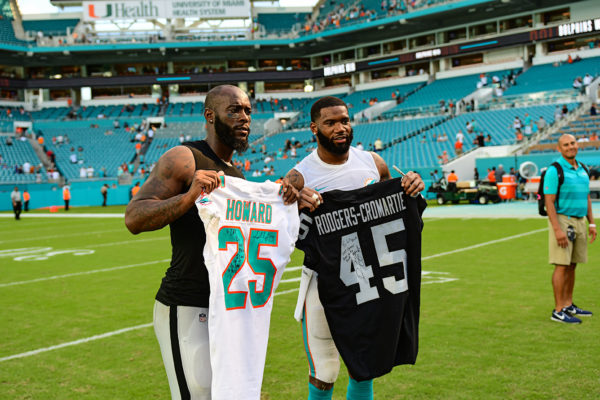 Oakland Raiders defensive back Dominique Rodgers-Cromartie (45) and Miami Dolphins cornerback Xavien Howard (25)