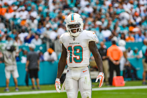 Miami Dolphins wide receiver Jakeem Grant (19) is all smiles