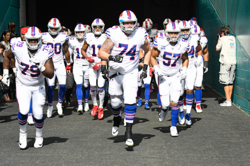 Buffalo Bills offensive guard Jeremiah Sirles (74) leads the team out