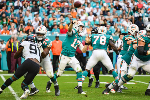 Miami Dolphins quarterback Ryan Tannehill (17) throws a pass