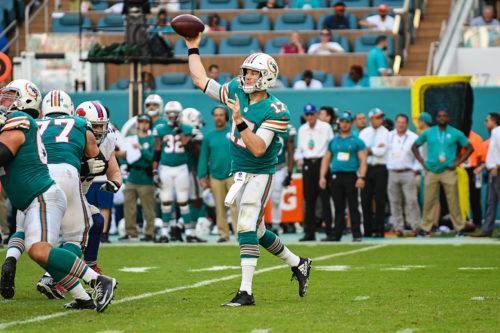 Miami Dolphins quarterback Ryan Tannehill (17) throws a pass