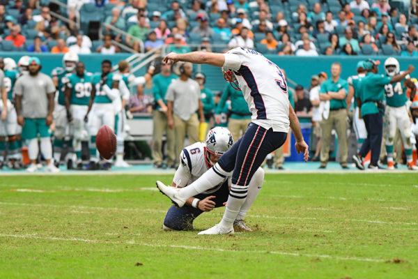 New England Patriots kicker Stephen Gostkowski (3) kicks a field goal