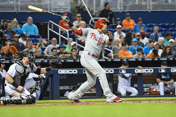 Philadelphia Phillies second baseman Cesar Hernandez (16) watches his homerun