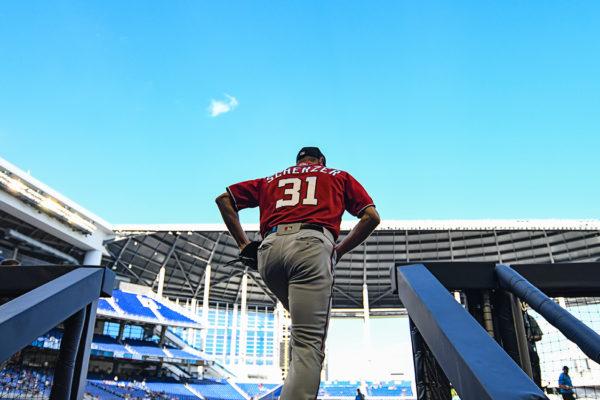 Washington Nationals starting pitcher Max Scherzer #31 heads out to warm up