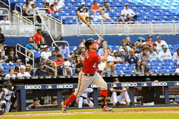 Washington Nationals first baseman Ryan Zimmerman #11 hits his 2nd homer of the game