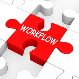 Workflow Puzzle Showing Process Flow Or Procedure