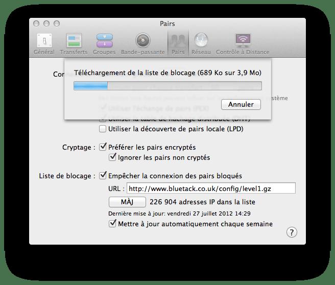 Transmission Mac blocage IP