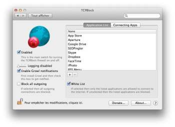 TCPBlock application liste