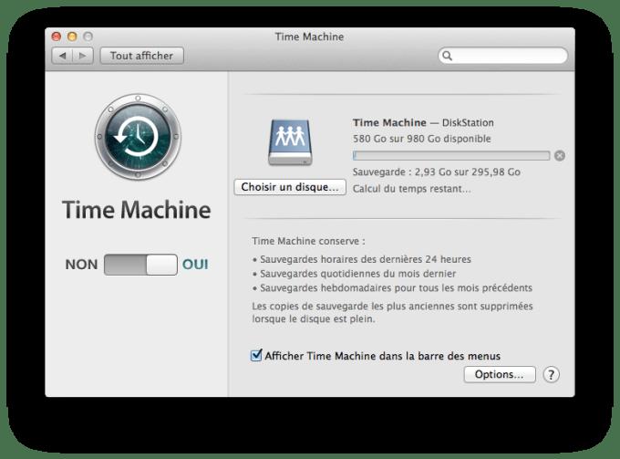 Mac OS X Mavericks Time Machine sauvegarde