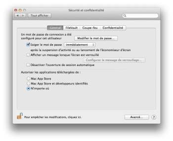 mavericks autoriser app installation