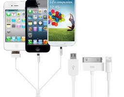 Cable de charge et synchronisation 4 en 1 Apple, Galaxy Tab, Micro USB