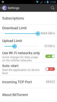 bittorrent android reglages