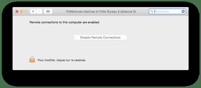 Chrome Remote Desktop preferences systeme mac