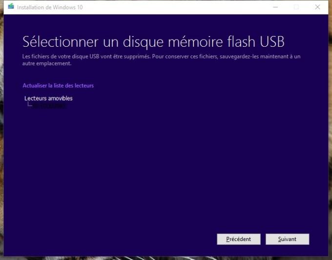 usb windows 10 selectionner un disque memoire flash usb