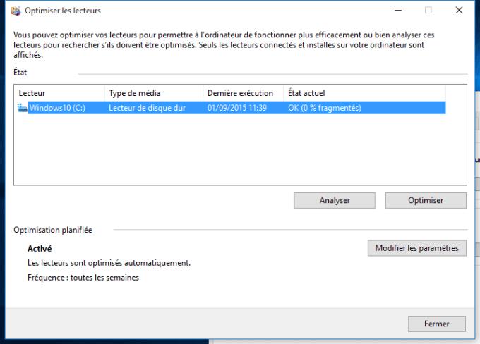 defragmenter Windows 10 analyser disque
