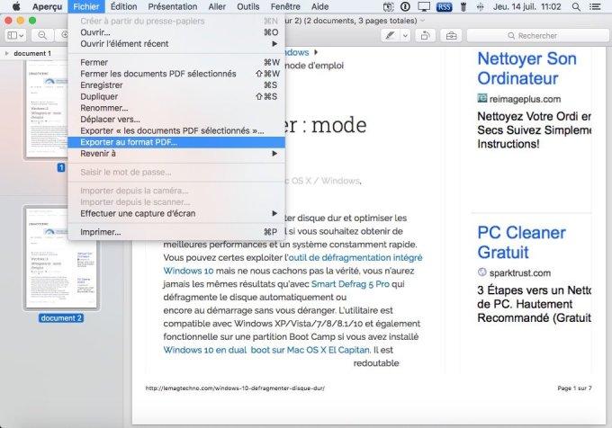 combiner 2 pdf sur mac exporter