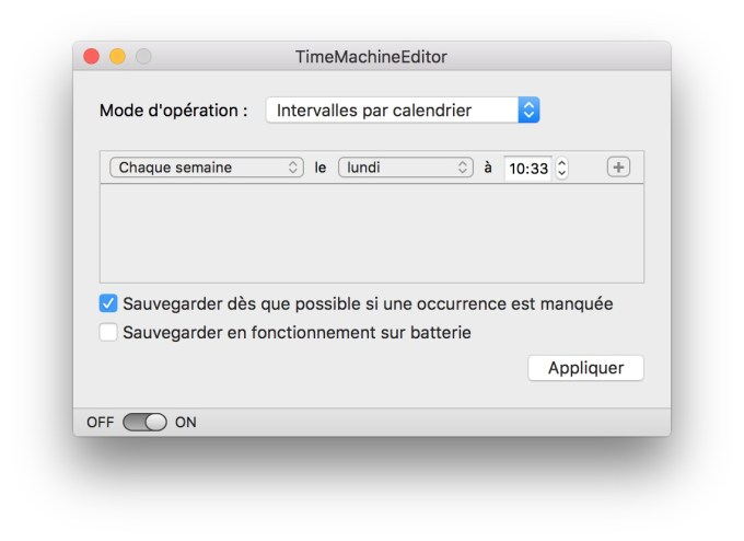 programmer time machine semaine