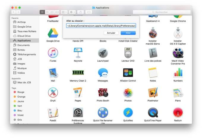 Exporter les courriers Apple Mail finder