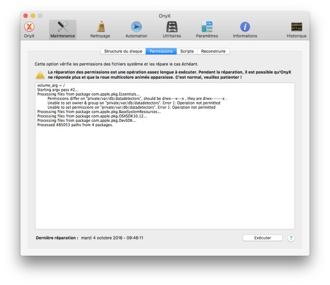 Reparer les permissions macOS Sierra onyx permissions
