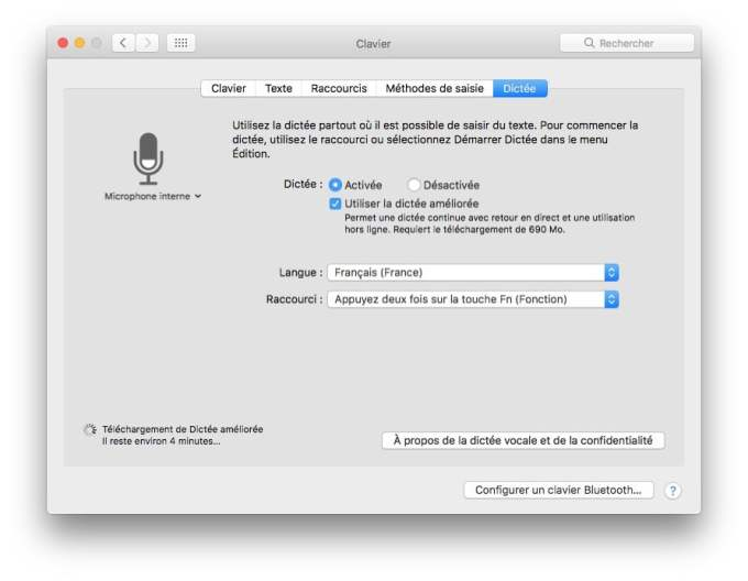 Activer la dictee vocale Mac OS Sierra mode ameliore