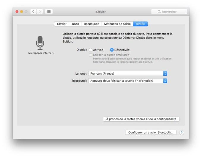 Activer la dictée vocale Mac OS Sierra mode basique