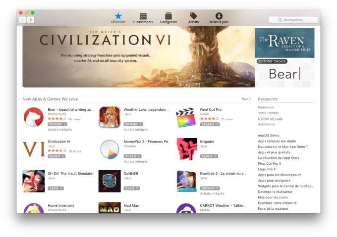 Carte cadeau Apple mac app store
