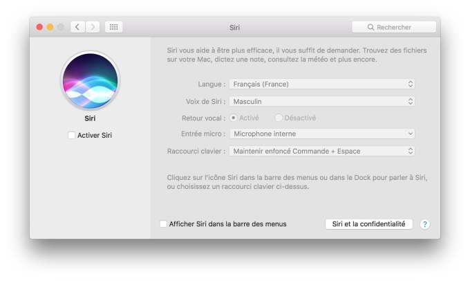 Desactiver Siri macOS Sierra preference systeme