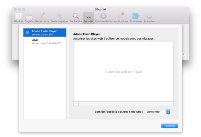 Installer Flash Player Mac OS Sierra module externe