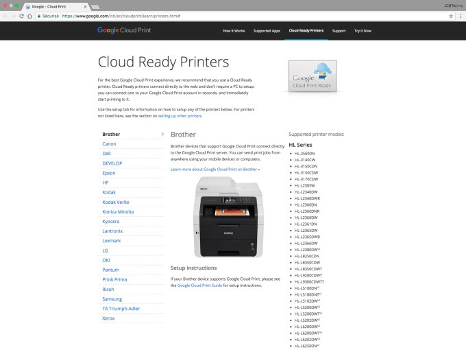 Google Cloud Print liste cloud ready printers
