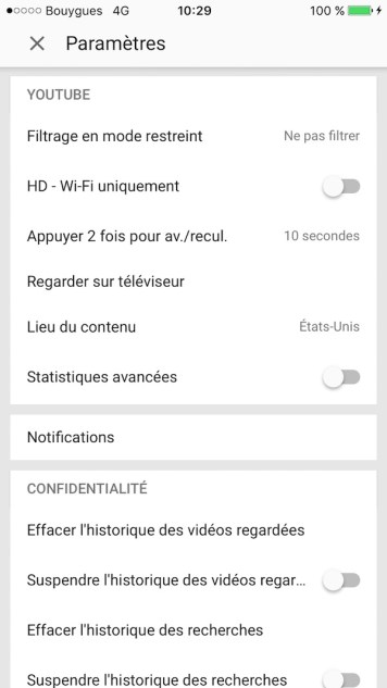 filtrer controle parental youtube iphone