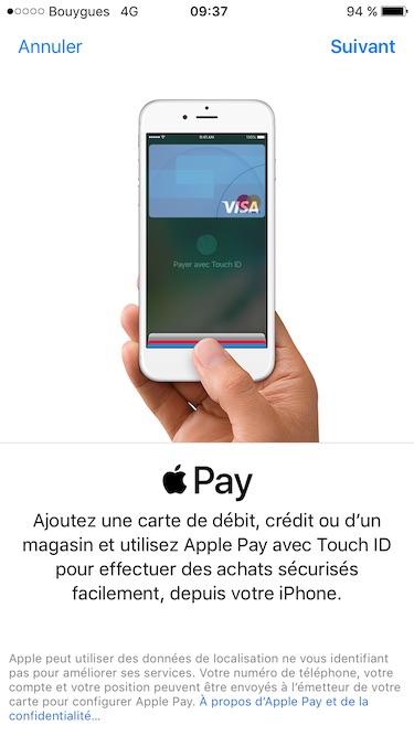 configurer apple pay ajout carte de credit