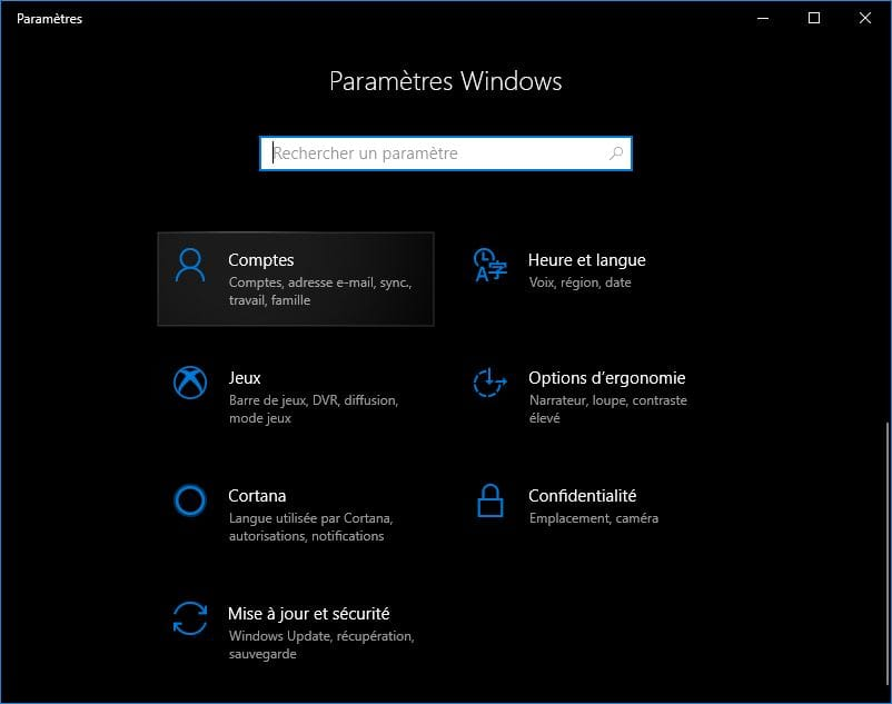 changer le mot de passe de windows 10 Comptes