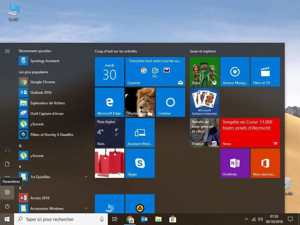changer le mot de passe de windows 10 Parametres