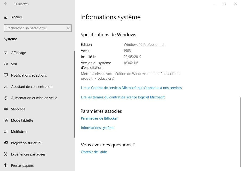 windows 10 mai 2019 version 1903 informations systeme