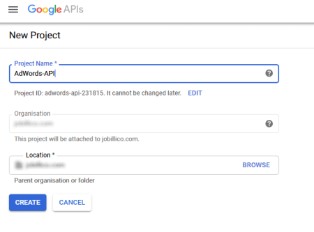 Create a new project in Google Ads API