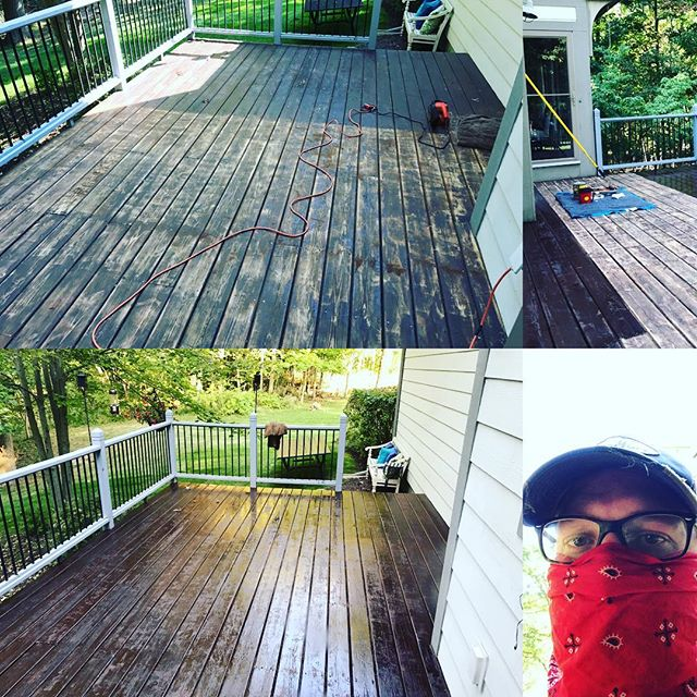 """Restained the deck this weekend. Finally crossed something off the """"honey do list""""."""