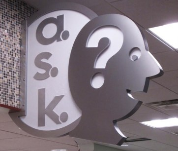 ask sign. Built by JCDP. Designed by Janice Davis Design
