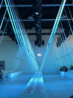 Lacoste runway for NY Fashion Week. Benches and straps by JCDP. Designed and produced by Bureau Betak.