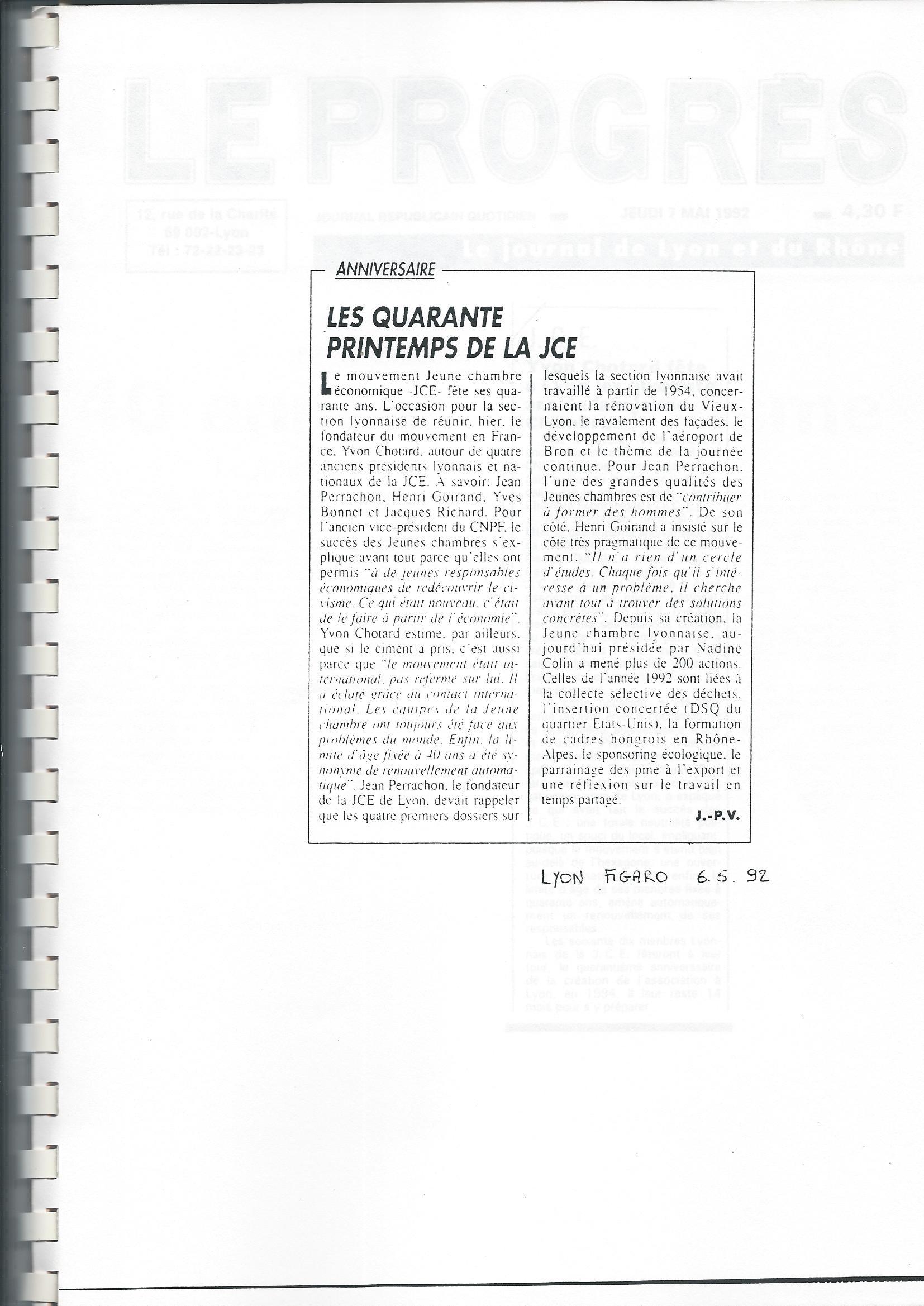 Les 40 ans de la Jeune Chambre Economique de Lyon
